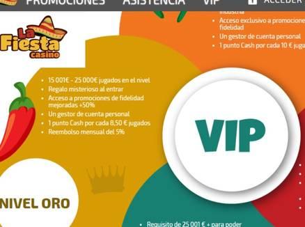 La Fiesta Casino Promociones y Bonos VIP