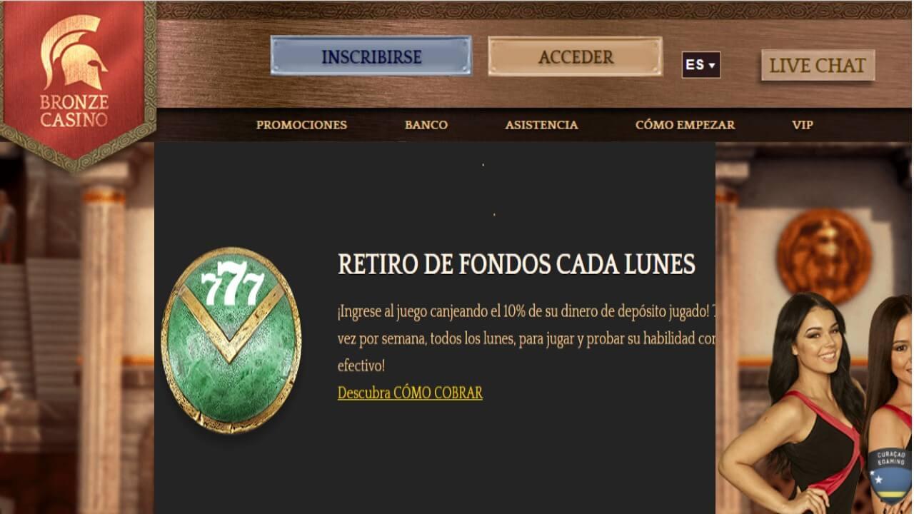 Promoción Bronze Casino por retiros 10% de reembolso de los lunes