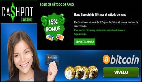 Casino Cashpot 15% por método de ingreso