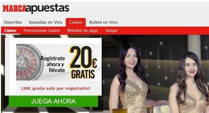 20 euros gratis por bono por registro Casino Marca Apuestas